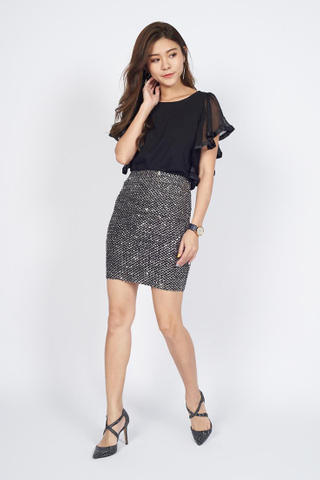 *Christmas Edition* Sequin Pencil Skirt in Grey