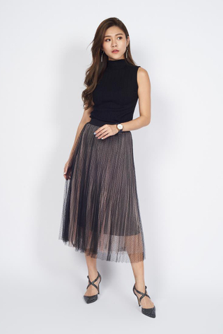 *Christmas Edition* Pleated Chiffon Midi Skirt in Salmon Pink Polka Dot
