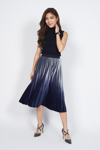 *Christmas Edition* Pleated Midi Skirt in Indigo Ombre