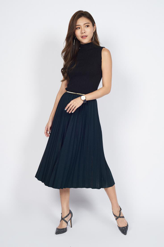 *Christmas Edition* Pleated Midi Skirt in Navy