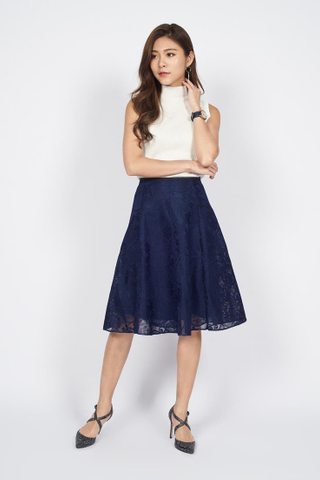 *Christmas Edition* Swing Midi Lace Skirt in Navy