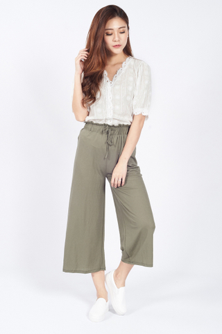 Paperback Drawstring Cropped Pants in Olive