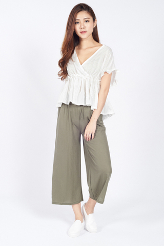 V-Neck Gathered Waist Blouse in White