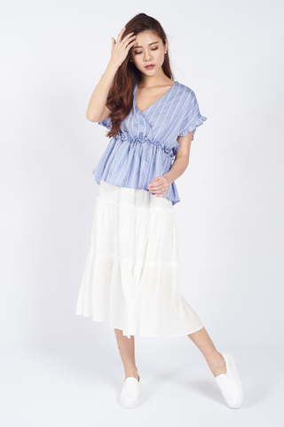V-Neck Gathered Waist Blouse in Blue