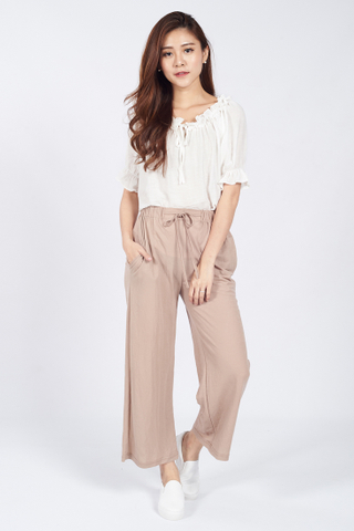 Paperback Drawstring Cropped Pants in Beige