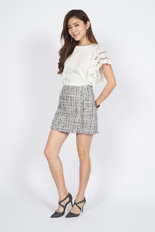 Pearl Lace Sleeves Top in White