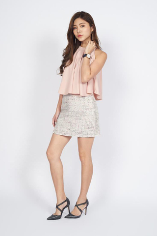 Tweed Mini Skirt in Beige