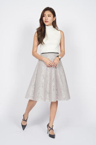 Swing Midi Lace Skirt in Biege