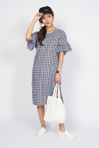 Knotted Gingham Dress