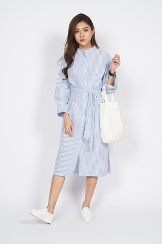 Front Tie Shirt Dress in Blue Stripes