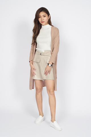 Knitted long Cardigan in Beige
