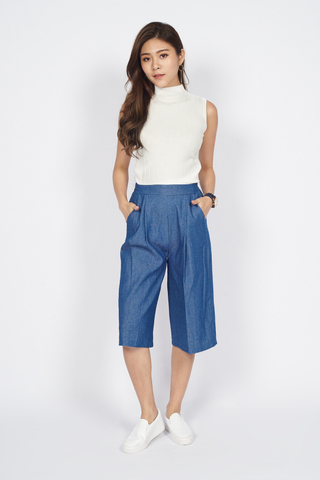 Cropped Tailored Pants in Blue
