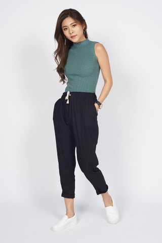 Mock Neck Knit Top in Green