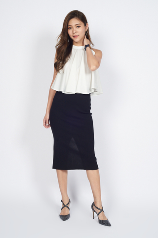Soft Knit Pencil Skirt in Black