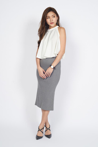 Soft Knit Pencil Skirt in Grey