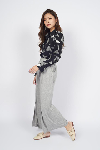 Cotton Palazzo Pants in Grey