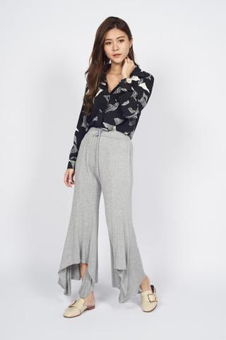 Cotton Ruffles Palazzo Pants in Grey