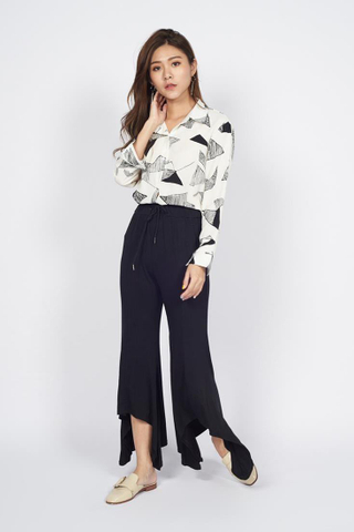 Cotton Ruffles Palazzo Pants in Black