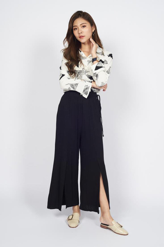 Cotton Palazzo Pants in Black