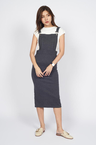 One Piece Overall Midi in Grey