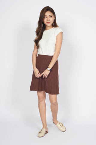 Jacquard Knit Skirt in Brown