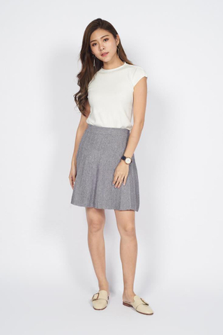 Jacquard Knit Skirt in Grey