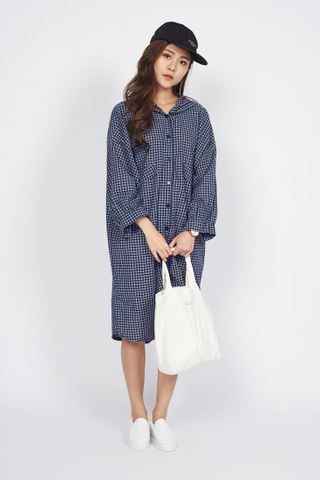 Oversize Button down Hoodie Shirt Dress in Blue Checks