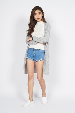Heather Cotton Cardigan in Light Grey
