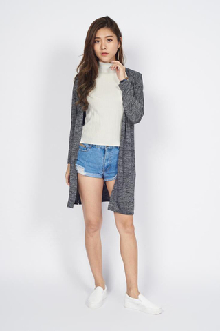 Heather Cotton Cardigan in Dark Grey
