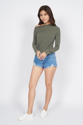 Asymmetrical Neckline Long Sleeve top in Olive