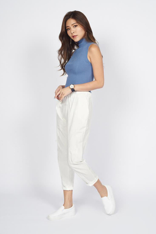 Drawstring Cropped Pants in White